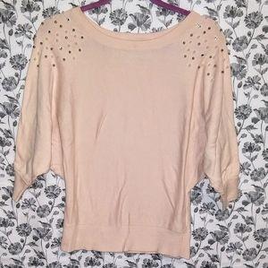 IZ Byer-Pink/Pearl Knit 3/4 Sleeve Sweater